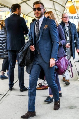 How to Wear Dark Brown Suede Double Monks: You'll be amazed at how easy it is to get dressed this way. Just a navy check overcoat and a blue three piece suit. A good pair of dark brown suede double monks is the simplest way to give a dash of stylish casualness to this look.