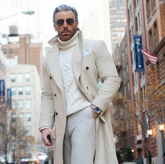 How to wear: beige overcoat, white knit turtleneck, beige chinos, white pocket square