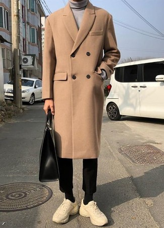 How to wear: camel overcoat, grey turtleneck, black chinos, beige athletic shoes