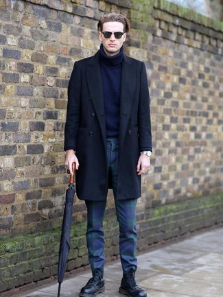 How to wear: black overcoat, navy wool turtleneck, navy and green plaid chinos, black leather casual boots