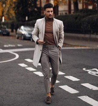 How to Wear Dark Brown Suede Tassel Loafers: When the situation calls for a smart casual menswear style, you can easily dress in a beige overcoat and grey chinos. A nice pair of dark brown suede tassel loafers is the simplest way to bring a dash of class to your look.