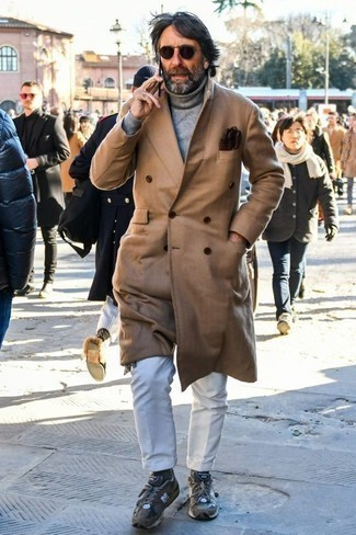 How to Wear Grey Athletic Shoes For Men: This combination of a camel overcoat and white chinos is a fail-safe option when you need to look casually sleek in a flash. Balance out your outfit with a more relaxed kind of footwear, like this pair of grey athletic shoes.