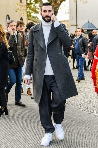 How to Wear Black Socks In Your 30s In Cold Weather For Men: Rock a charcoal overcoat with black socks for a casual outfit with a twist. White leather low top sneakers look right at home here.
