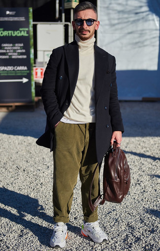 How to Wear a Brown Leather Backpack For Men: A black overcoat and a brown leather backpack are the kind of a no-brainer casual ensemble that you need when you have no extra time to dress up. You can get a little creative when it comes to shoes and add a pair of grey athletic shoes to the mix.