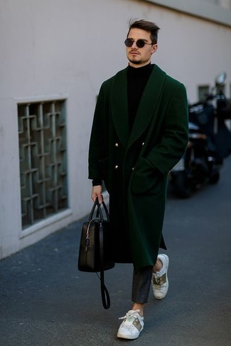 How to Wear Pants For Men: A dark green overcoat and pants are a pairing that every sartorially savvy guy should have in his menswear arsenal. White print leather low top sneakers are a nice idea to finish your outfit.