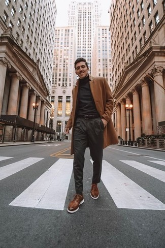 How to Wear a Charcoal Turtleneck For Men: For comfort dressing with a twist, try pairing a charcoal turtleneck with charcoal chinos. For something more on the dressier side to finish this ensemble, introduce brown leather brogues to the mix.