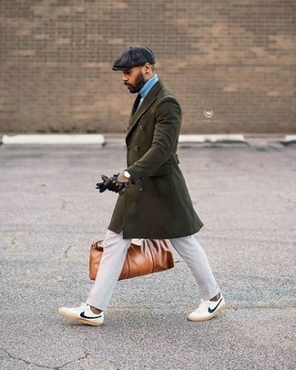 How to Wear an Olive Overcoat: This combo of an olive overcoat and white chinos might pack a punch, but it's also extremely easy to assemble. Rev up your outfit by rocking white and navy canvas low top sneakers.