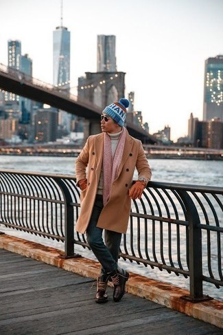 How to Wear a Camel Overcoat: As you can see, looking stylish doesn't require that much effort. Just marry a camel overcoat with dark green chinos and you'll look incredibly stylish. As for shoes, throw a pair of dark brown leather casual boots in the mix.