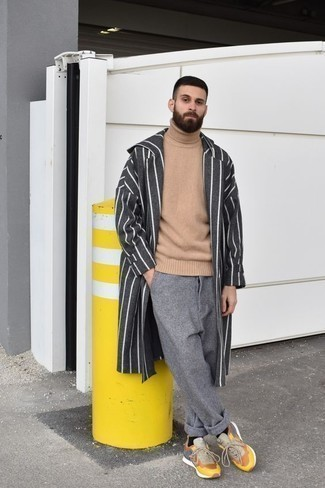 How to Wear Multi colored Athletic Shoes For Men: This combination of a charcoal vertical striped overcoat and grey wool chinos is the perfect base for a casually stylish outfit. A trendy pair of multi colored athletic shoes is the most effective way to add a confident kick to the outfit.