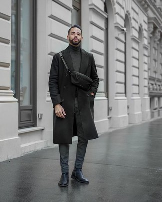 How to Wear Chinos: For relaxed sophistication with a rugged finish, you can easily go for a black overcoat and chinos. A pair of black leather chelsea boots instantly dials up the classy factor of this look.