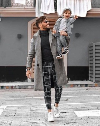 Grey Overcoat with Charcoal Plaid Pants Outfits: As you can see, looking dapper doesn't take that much work. Just pair a grey overcoat with charcoal plaid pants and you'll look incredibly stylish. A pair of white canvas low top sneakers looks wonderful here.