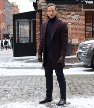 Dark Brown Leather Gloves Outfits For Men: A burgundy overcoat and dark brown leather gloves are a laid-back combo that every modern man should have in his casual arsenal. If you wish to immediately up the style ante of this ensemble with shoes, introduce black leather chelsea boots to the equation.