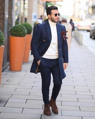 Gloves Outfits For Men: This combination of a navy vertical striped overcoat and gloves is hard proof that a safe off-duty ensemble doesn't have to be boring. Up your ensemble by finishing off with brown suede casual boots.