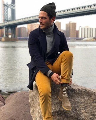 Brown Suede Casual Boots Outfits For Men: Inject personality into your day-to-day arsenal with a navy overcoat and tobacco corduroy chinos. When not sure as to the footwear, stick to a pair of brown suede casual boots.