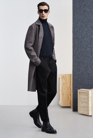 Overcoat Outfits: An overcoat and black chinos worn together are the perfect outfit for those dressers who love sophisticated styles. Complement this outfit with a pair of black leather casual boots for maximum style.