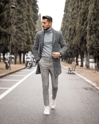 Grey Overcoat with Charcoal Plaid Pants Outfits: A grey overcoat and charcoal plaid pants are absolute must-haves if you're crafting a classic and casual closet that matches up to the highest sartorial standards. Add white leather low top sneakers to this ensemble and the whole outfit will come together.