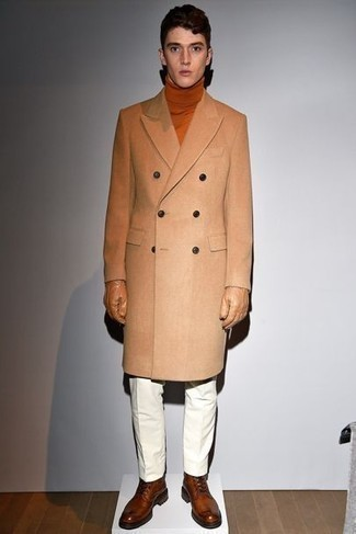 Brown Leather Casual Boots Outfits For Men: Such items as a camel overcoat and white chinos are an easy way to inject some class into your current routine. If you're on the fence about how to round off, a pair of brown leather casual boots is a smart idea.