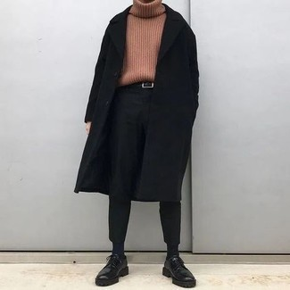 500+ Fall Outfits For Men: If the situation calls for a casually sleek look, you can wear a black overcoat and black chinos. With shoes, go down a more elegant route with a pair of black chunky leather derby shoes. When it's one of those gloomy autumn days, sometimes only a knockout getup like this one can get you out the door in the morning.