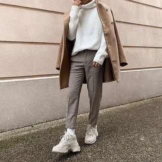 1200+ Chill Weather Outfits For Men: A camel overcoat and grey check chinos are the kind of a winning ensemble that you need when you have no time to plan an outfit. To give your overall look a more casual aesthetic, complement your look with beige athletic shoes.