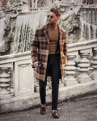 Dark Brown Leather Tassel Loafers Cold Weather Outfits: This combination of a brown plaid overcoat and black chinos looks well-executed and instantly makes any man look cool. Serve a little mix-and-match magic by slipping into a pair of dark brown leather tassel loafers.