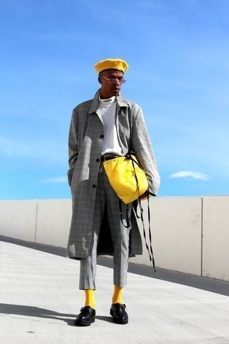 Mustard Socks Outfits For Men: Wear a grey plaid overcoat and mustard socks to pull together an interesting and modern casual ensemble. You can get a bit experimental when it comes to footwear and complement this ensemble with black leather monks.