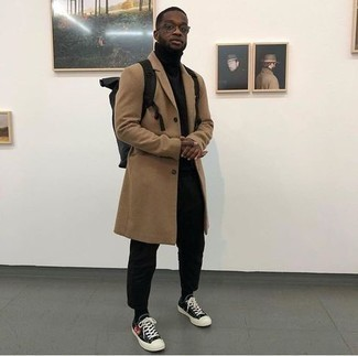 Charcoal Canvas Backpack Outfits For Men: Try pairing a camel overcoat with a charcoal canvas backpack for an easy-to-create ensemble. Black print canvas low top sneakers act as the glue that will bring your look together.