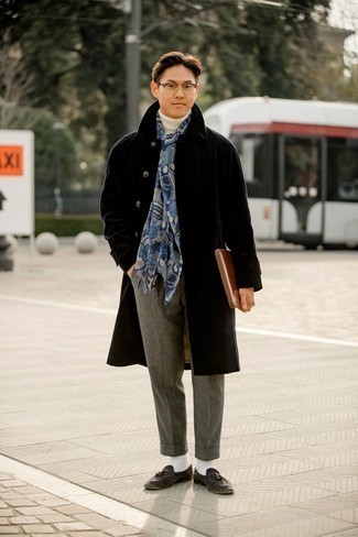 White Turtleneck Outfits For Men: This look with a white turtleneck and grey wool chinos isn't a hard one to pull off and is easy to change. Kick up this whole getup with charcoal suede tassel loafers.