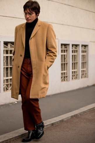 Camel Overcoat Outfits: A camel overcoat and tobacco chinos make for the perfect base for an outfit. Go off the beaten track and shake up your look by sporting black studded leather chelsea boots.