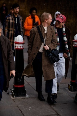 Brown Houndstooth Overcoat Outfits: A brown houndstooth overcoat and black chinos will add dapper style to your daily outfit choices. Complete this look with a pair of black leather casual boots and ta-da: the outfit is complete.