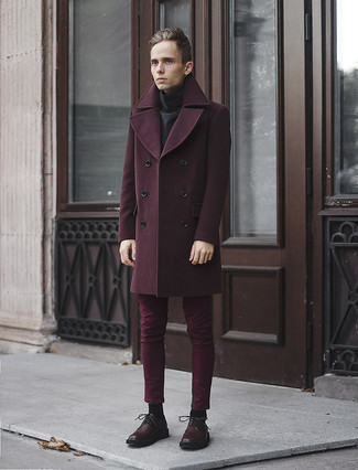 Dark Brown Leather Derby Shoes Outfits: A burgundy overcoat and burgundy chinos are the ideal way to inject extra refinement into your current casual repertoire. To give your overall outfit a sleeker vibe, complete this ensemble with a pair of dark brown leather derby shoes.