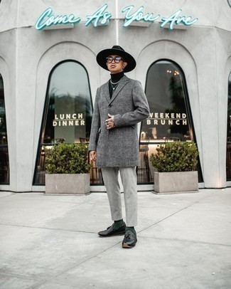 Grey Plaid Overcoat Outfits: Putting together a grey plaid overcoat with grey chinos is an on-point pick for a casually smart ensemble. Introduce a pair of black leather tassel loafers to the equation for a hint of refinement.