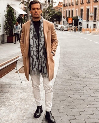 Black Leather Chelsea Boots Outfits For Men: We love how this smart casual combo of a camel overcoat and white chinos instantly makes any man look stylish. Make your getup slightly sleeker by finishing off with a pair of black leather chelsea boots.