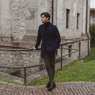 Coat Outfits For Men: Flaunt your styling game by teaming a coat and dark brown plaid chinos. And if you need to immediately dial up this ensemble with shoes, why not complement this outfit with a pair of dark brown leather tassel loafers?