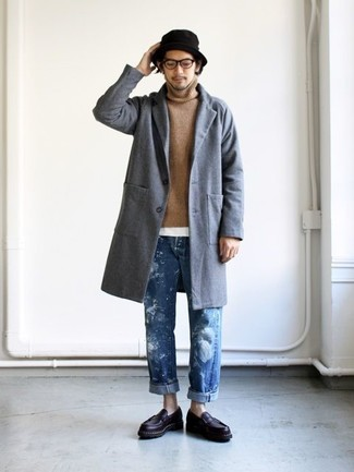 How to wear: grey overcoat, tan turtleneck, white crew-neck t-shirt, blue jeans
