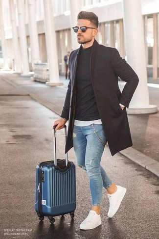 Blue Suitcase Outfits For Men: This combination of a dark brown overcoat and a blue suitcase delivers comfort and confidence and helps you keep it low-key yet current. White canvas low top sneakers make your look whole.