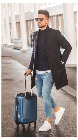 Blue Suitcase Outfits For Men: Demonstrate your prowess in menswear styling by teaming a dark brown overcoat and a blue suitcase for an edgy combination. A pair of white canvas low top sneakers will be a welcome addition for this getup.