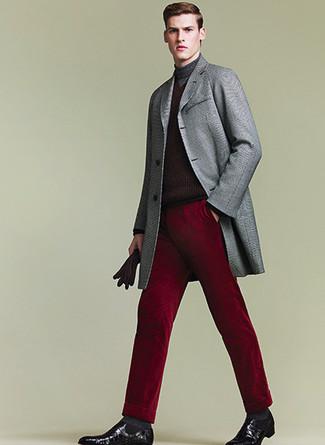 How to wear: grey overcoat, burgundy turtleneck, burgundy dress pants, black leather chelsea boots