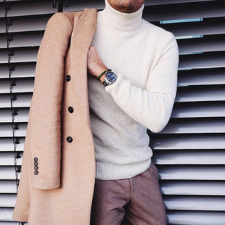 How to wear: camel overcoat, white turtleneck, brown wool dress pants, silver watch