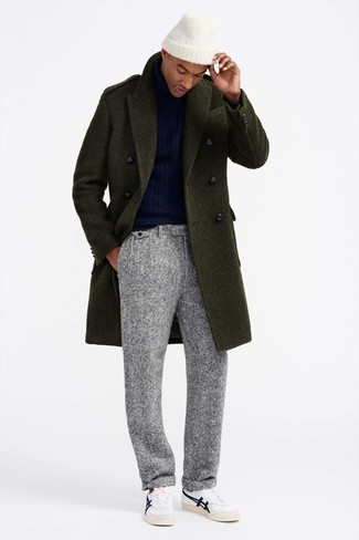 How to wear: olive overcoat, navy knit turtleneck, grey wool dress pants, white leather low top sneakers