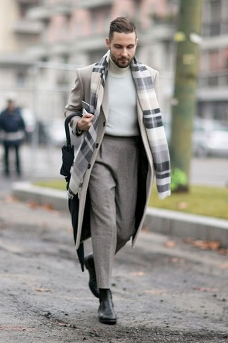 A beige overcoat and an Esprit men's Grid Check Scarf will showcase your sartorial self. As for the shoes, go for a pair of black leather chelsea boots. This outfit is a savvy idea when spring sets it.