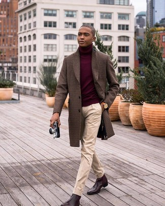 How to wear: brown gingham overcoat, burgundy turtleneck, beige dress pants, dark brown leather chelsea boots