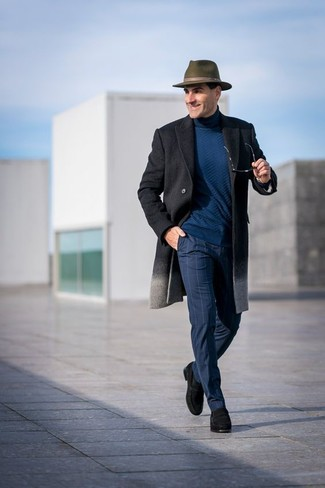 How to wear: charcoal overcoat, teal turtleneck, navy check dress pants, black suede loafers