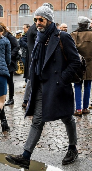 How to wear: navy overcoat, black turtleneck, grey wool dress pants, black suede derby shoes