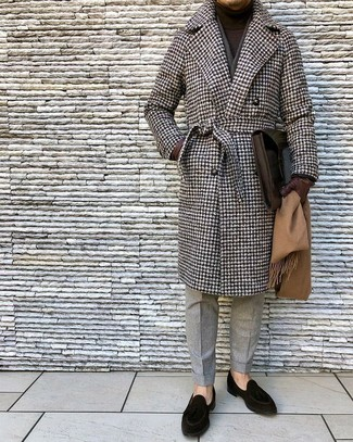 How to wear: brown houndstooth overcoat, dark brown turtleneck, grey wool dress pants, black suede loafers