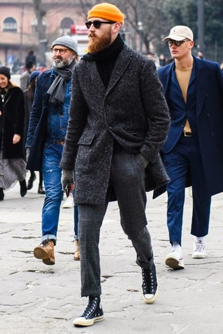 How to wear: charcoal overcoat, black turtleneck, charcoal check wool dress pants, black canvas high top sneakers