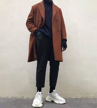 How to wear: tobacco overcoat, black turtleneck, black vertical striped dress pants, white suede athletic shoes