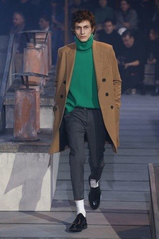 How to wear: camel overcoat, green turtleneck, charcoal vertical striped dress pants, black leather derby shoes