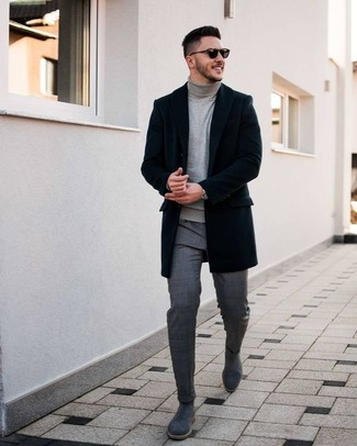 How to Wear a Grey Turtleneck For Men: A grey turtleneck and grey plaid dress pants are the ideal way to infuse some rugged sophistication into your off-duty styling lineup. We adore how cohesive this outfit looks when finished off by grey suede chelsea boots.