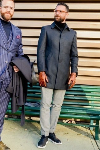 How to Wear a Charcoal Overcoat: Hard proof that a charcoal overcoat and grey dress pants look amazing when combined together in a refined look for a modern dandy. And if you wish to instantly tone down this ensemble with one piece, make black leather brogues your footwear choice.