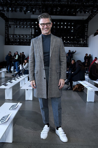 How to Wear Grey Wool Dress Pants For Men: A grey plaid overcoat and grey wool dress pants are a seriously dapper combination to try. White leather low top sneakers are a fail-safe way to add a dose of stylish casualness to this look.